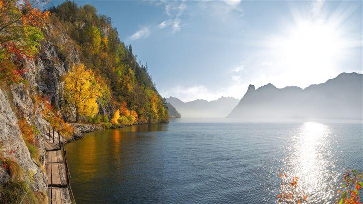 autumn lake 5k Mac Wallpaper