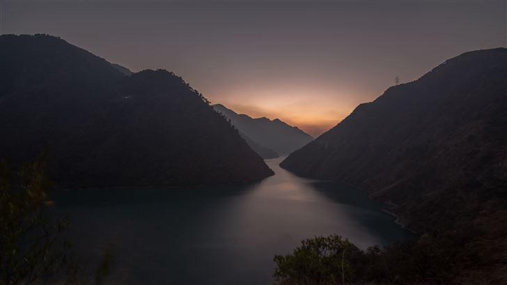 lake between mountains 5k Mac Wallpaper