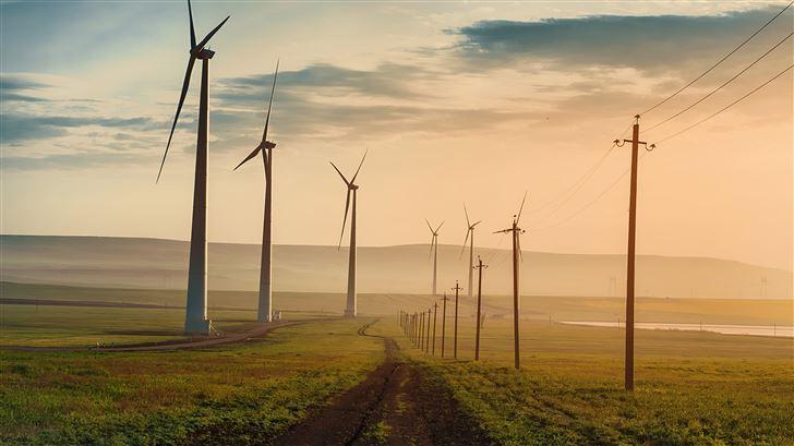 dawn over wind farm 5k Mac Wallpaper