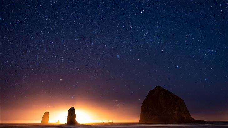 beautiful night in cannon beach at haystack rocks  Mac Wallpaper