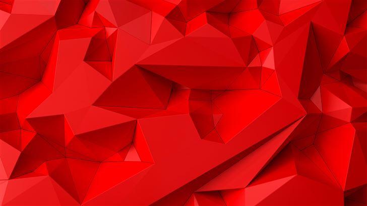 bright red shapes abstract 5k Mac Wallpaper