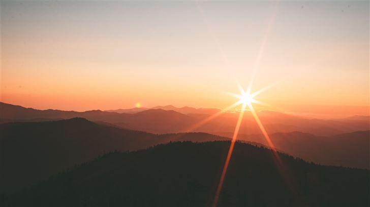 sunset from mountain range 5k Mac Wallpaper