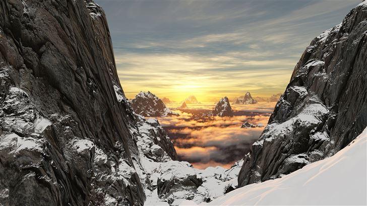 mountains snow high clouds 5k Mac Wallpaper