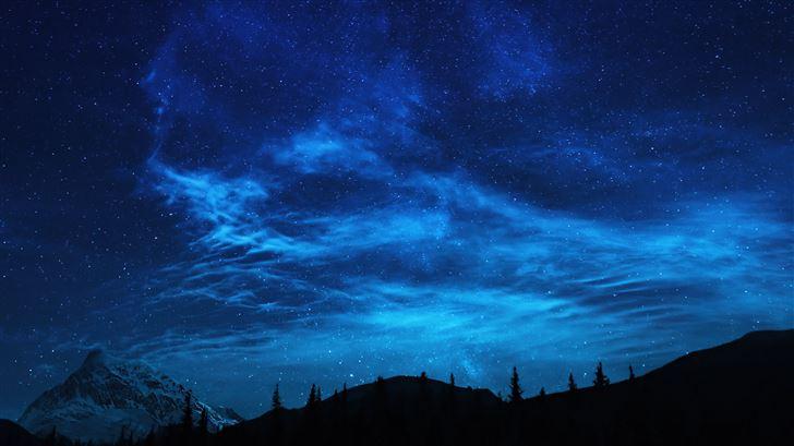 forest stars mountains night 5k Mac Wallpaper
