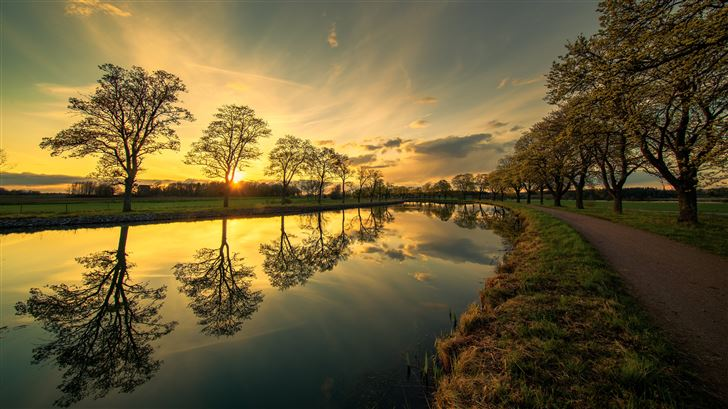 evening by the canal 5k Mac Wallpaper