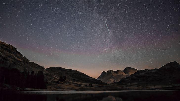 mountain range reflection shooting stars 8k Mac Wallpaper