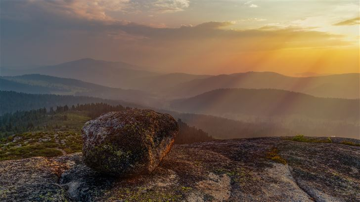 rock landscape mountain sunset sky 5k Mac Wallpaper