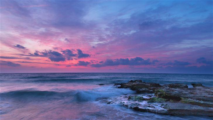 sea coast ocean clouds 5k Mac Wallpaper