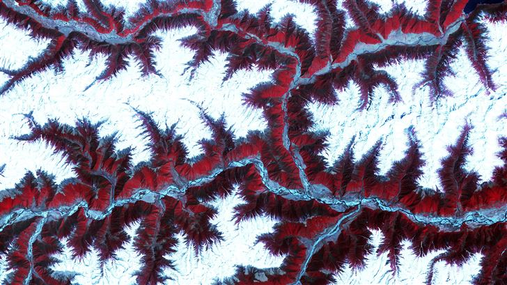 snow capped peaks and ridges himalyan mountains 8k Mac Wallpaper