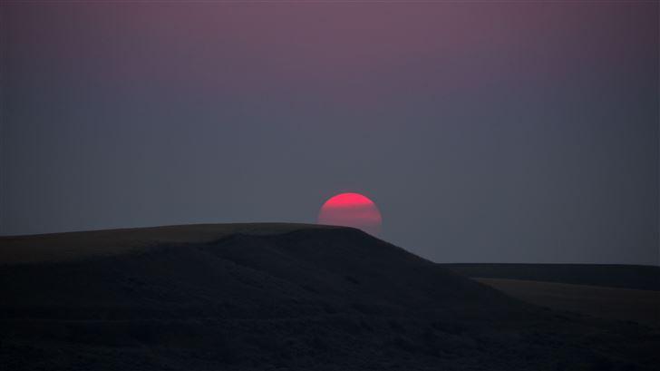 red sun landscape sunset dark 5k Mac Wallpaper