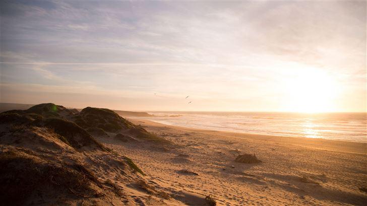 5k beach ocean dunes Mac Wallpaper