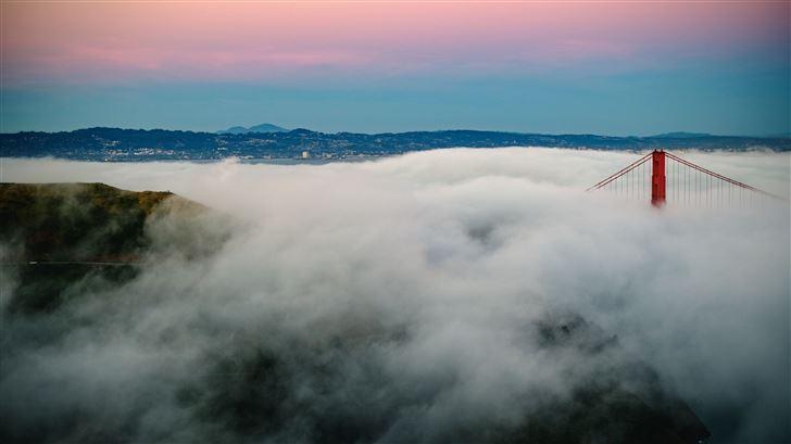 golden gate bridge fogs mountains 5k Mac Wallpaper