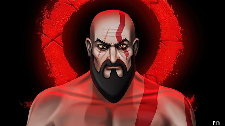 kratos cartoon illustration 5k Mac Wallpaper