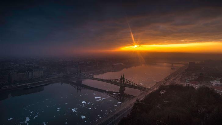 amazing city bridge sunrise 8k Mac Wallpaper