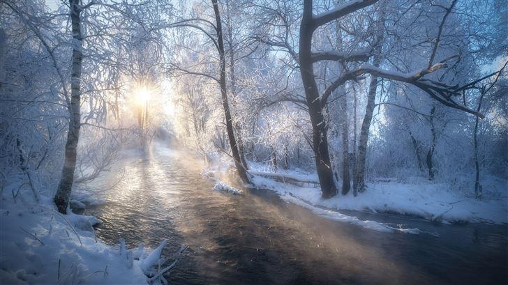 frost winter road 5k Mac Wallpaper