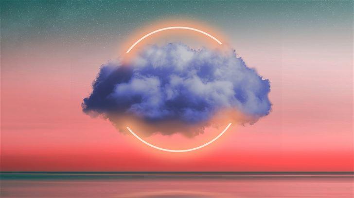 clouds neon light circle 5k Mac Wallpaper