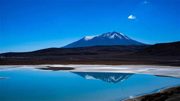 blue lake landscape reflection 5k Mac Wallpaper
