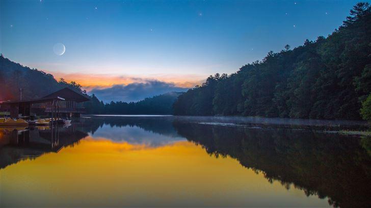 moon lake forest sky full moon 5k Mac Wallpaper
