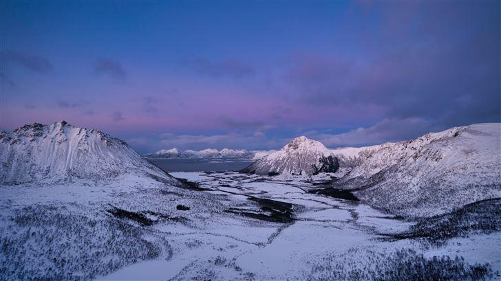 norway lofoten mountains snow 5k Mac Wallpaper