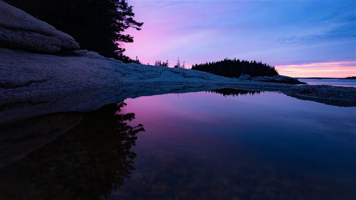 sunset on the rocks of maine Mac Wallpaper