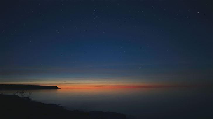 starry night calm sunset 5k Mac Wallpaper