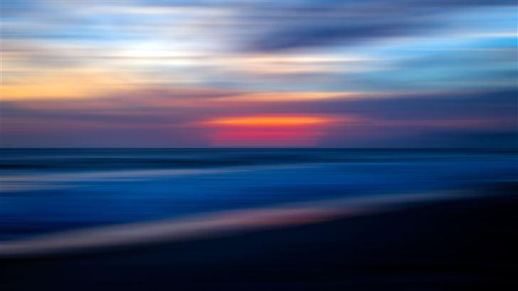sea ocean water sunset blur 5k Mac Wallpaper
