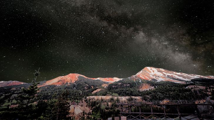 milky way above red mountains 8k Mac Wallpaper