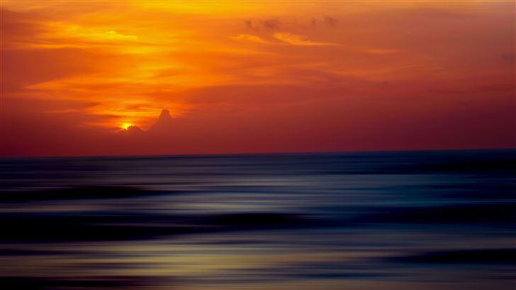 5k ocean sunset ripple effect Mac Wallpaper