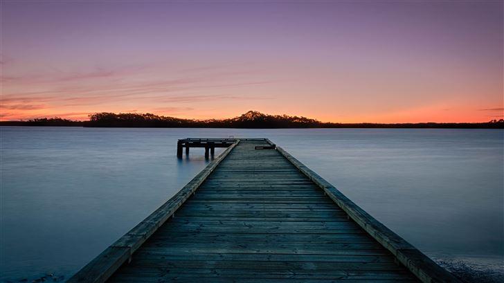 sunset by pier 5k Mac Wallpaper