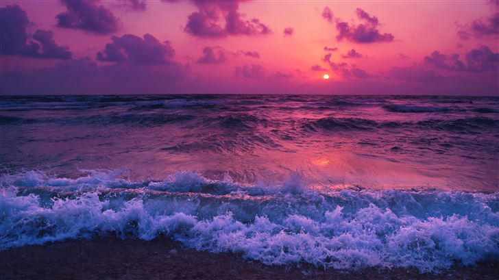 sunset waves red 5k Mac Wallpaper