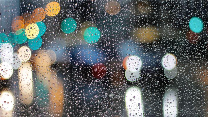 rainy day drops on glass lights bokeh 5k Mac Wallpaper