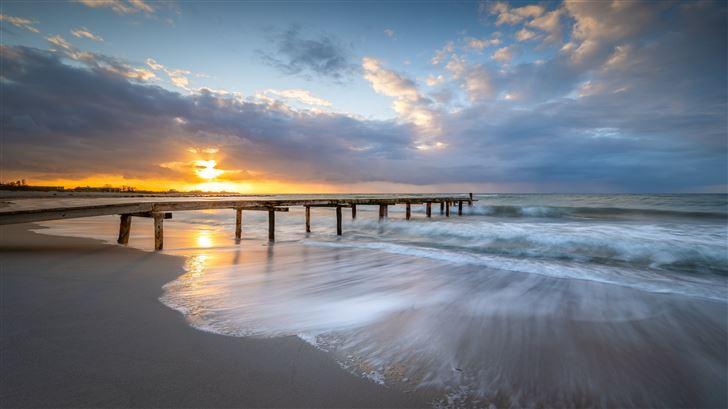 sunset pier landscape 5k Mac Wallpaper