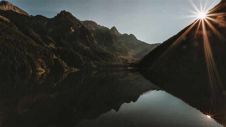sunrise reflection mountains 5k Mac Wallpaper