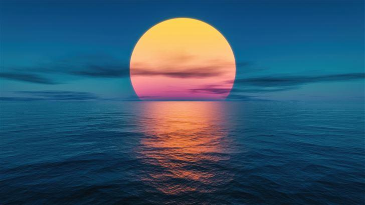 sunset ocean lake 5k Mac Wallpaper