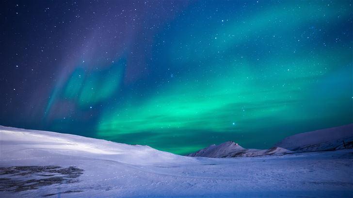 aurora northern lights stars 5k Mac Wallpaper