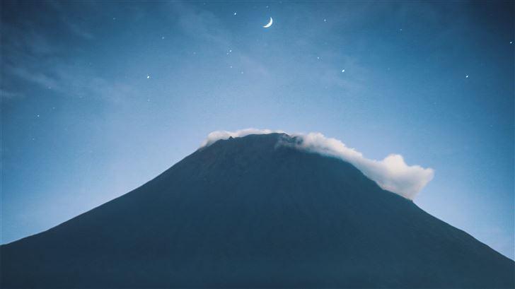 mountain tree clouds moon 5k Mac Wallpaper