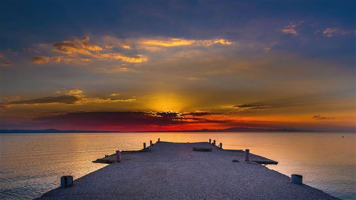 pier sunset evening 5k Mac Wallpaper