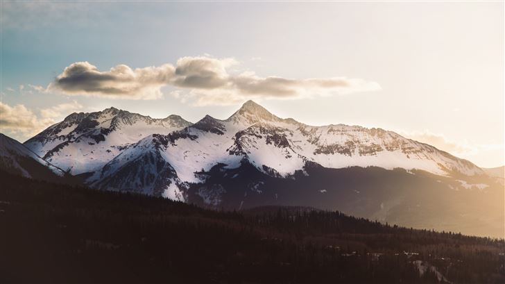 nature snow trees mountains 5k Mac Wallpaper