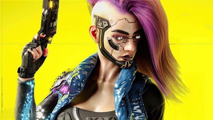 cyberpunk girl v 5k Mac Wallpaper