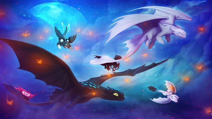 toothless and his family Mac Wallpaper