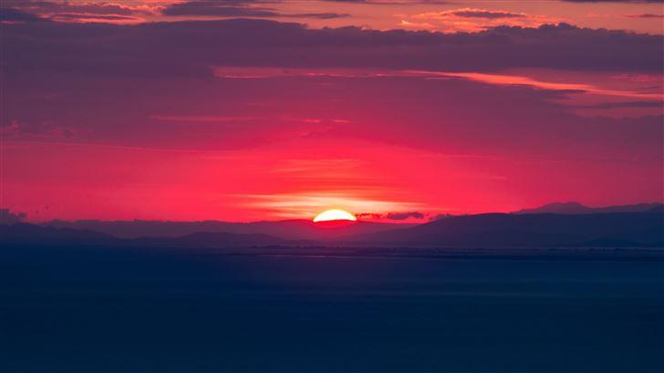 orange sun hills sunset 5k Mac Wallpaper