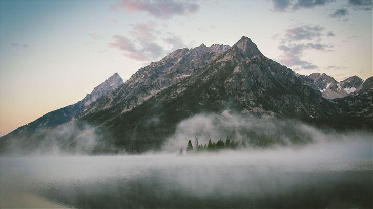 majestic mountains by lake 5k Mac Wallpaper