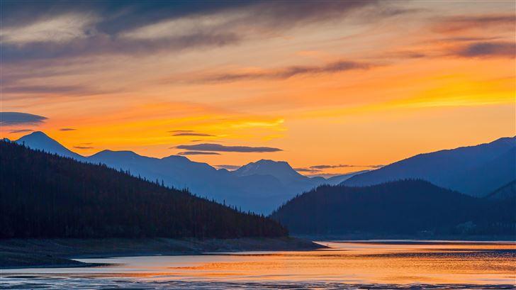 sunset mountains lake 5k Mac Wallpaper
