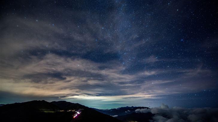 dark sky stars night outdoors night sky starry 8k Mac Wallpaper