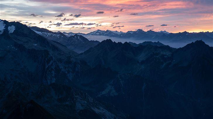 mountain ranges horizon fog 5k Mac Wallpaper