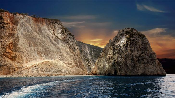 big rock ocean 8k Mac Wallpaper