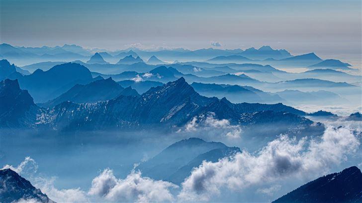 mountains sea clouds 5k Mac Wallpaper