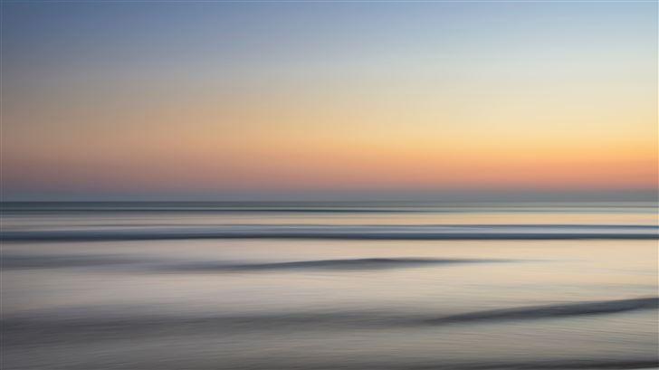ocean horizon sunset wave minimalism Mac Wallpaper