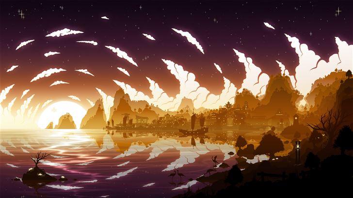 sunset beyond liyue genshin impact 5k Mac Wallpaper