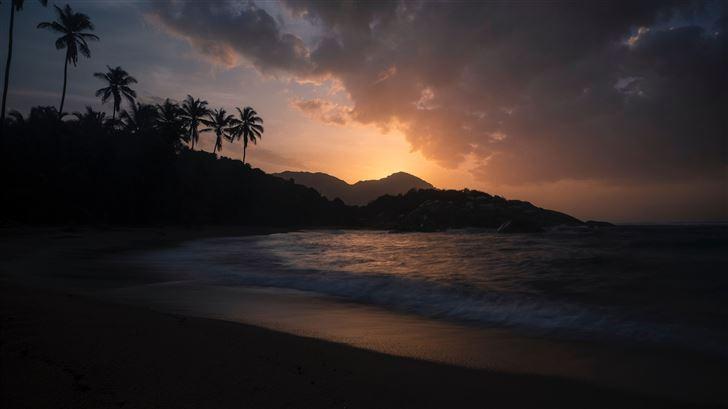 santa martum sunset beach 5k Mac Wallpaper